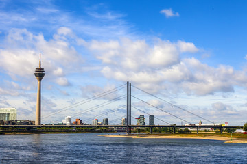 Dusseldorf, Germany.  View of the Rein, embankment and bridge