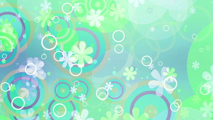 Bright Flowers Green hue Retro Looping Animated Background