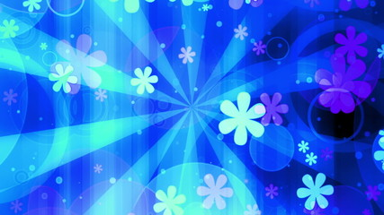 Bright Retro Blue Flowers looping animated background