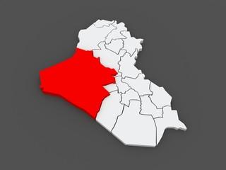 Map of Anbar. Iraq.