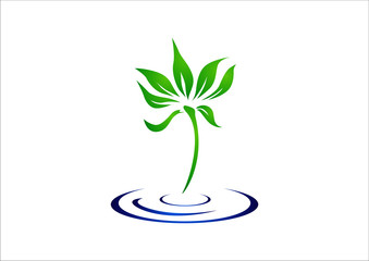 Ecology logo template elements leaf tree in water