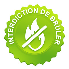interdiction de bruler sur bouton web denté vert