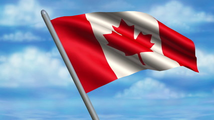 Looping Canadian Flag animation with sky background.