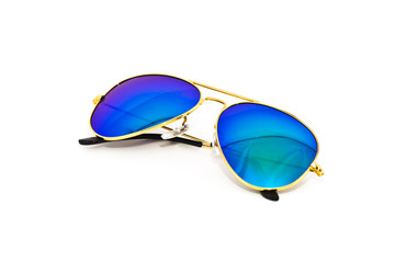 Colourful sunglasses on white background