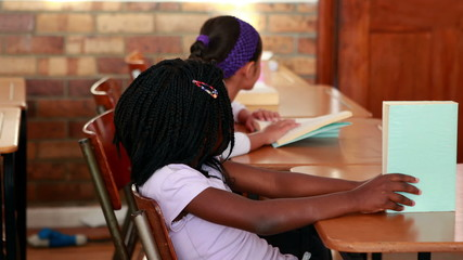Cute schoolchildren reading in their classroom