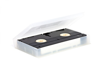 VHS video tape cassette in case on white background