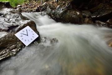 時計と川の流れ