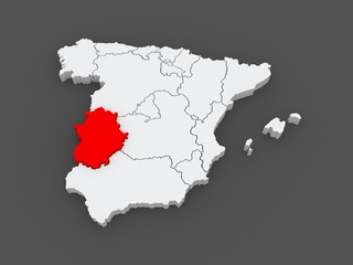 Map of Extremadura. Spain.