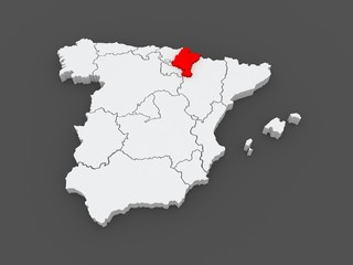 Map of Navarre. Spain.