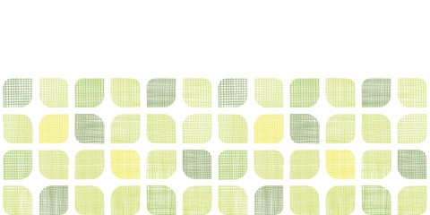 Abstract textile green rounded squares horizontal seamless