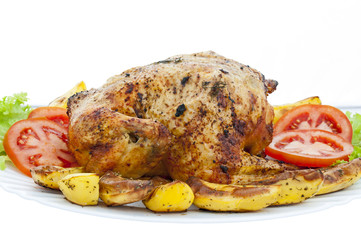 Whole roasted chicken on white background