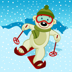 polar bear skier - vector  illustration, eps