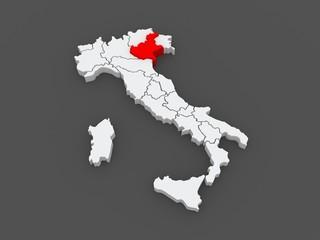 Map of Veneto. Italy.