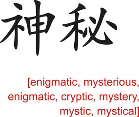 Chinese Sign for enigmatic,mysterious,enigmatic,cryptic,mystery