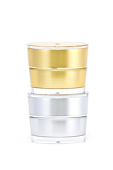 cream container on white background