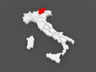 Map of Trentino - Alto Adige. Italy.
