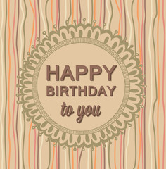 Happy Birthday luxury card vintage hand drawing vector