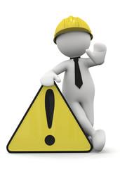 omino bianco appoggiato al cartello pericolo giallo