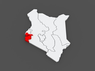 Map of Nyanza. Kenya.