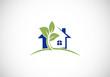 home and plant garden abstract vector logo