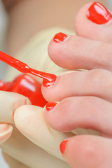 pedicure process macro closeup