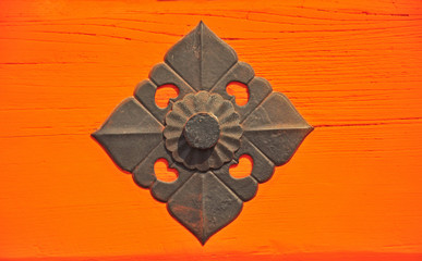 The iron decor on Japanese temple door