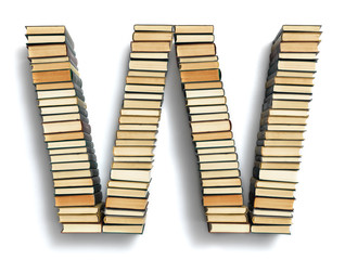 Letter W formed from the page ends of books