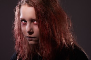 Close up portrait of teenager witch