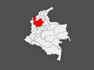 Map of Antioquia. Colombia.