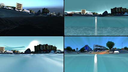 cityscape and water surface and underwater in four screens