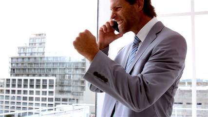 Handsome businessman looking out window talking on phone