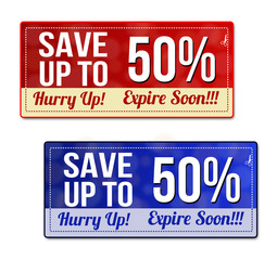 Save up to 50 percent coupon, voucher, tag