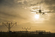 canvas print picture - Airplane landing at dusk.