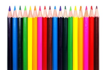 Colorful pencil crayon border over white