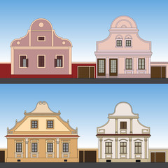 Old facade houses, vector
