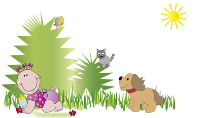 Bebé en el campo y animales
