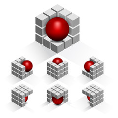 Set of vector cubes with sphere