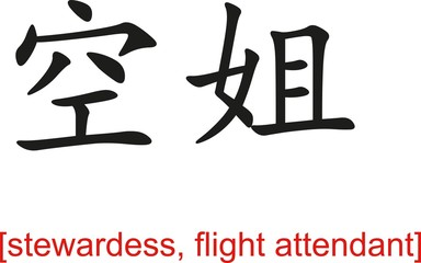 Chinese Sign for stewardess, flight attendant