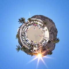 Abstract beach panorama view with circular shape