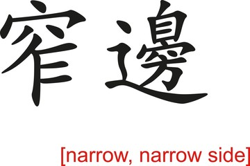 Chinese Sign for narrow, narrow side