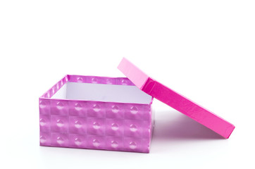pink gift box isolated white background