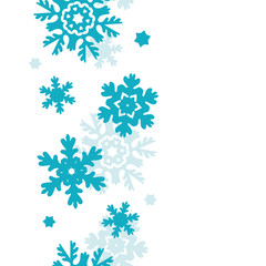 Blue Frost Snowflakes Vertical Seamless Pattern Background