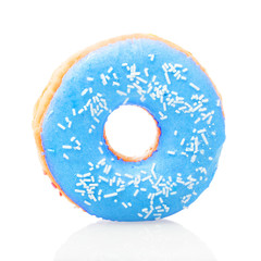Blue donut on white background