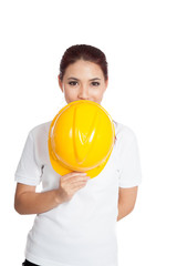 Asian engineer girl hold a hardhat