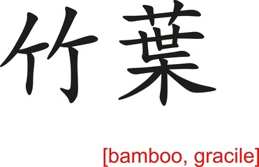 Chinese Sign for bamboo, gracile