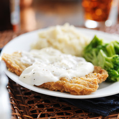 chicken fried steak with southern style peppered milk gravy