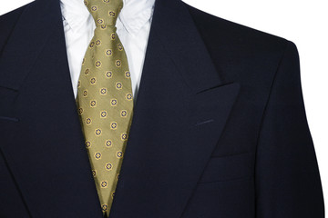 Suit and Tie Navy Blue Blazer with Power Gold Tie