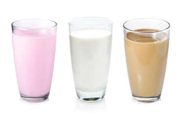 Collection of milk isolated on white background.