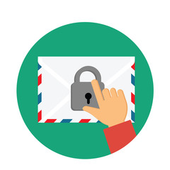 Secure Mail icon.Mailing envelope locked with padlock