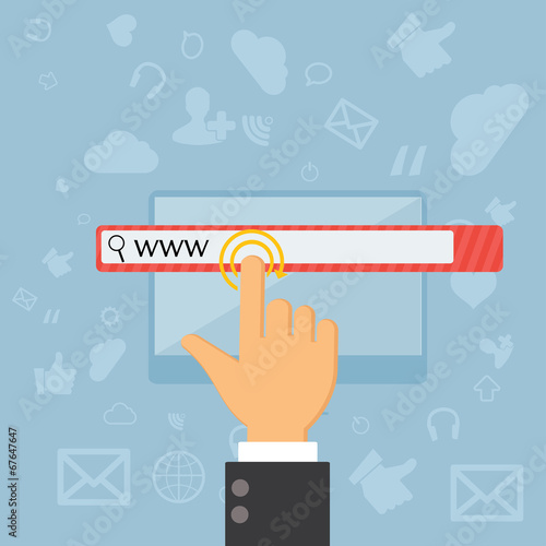 touching web browser address bar with www sign - 67647647